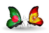 Butterflies with Bangladesh and Spain flags on wings — Photo