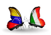 Butterflies with Venezuela and  Ireland flags on wings — Stock Photo