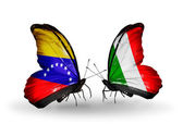 Butterflies with Venezuela and   Italy flags on wings — Zdjęcie stockowe