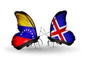 Farfalle con venezuela e islanda bandiere sulle ali — Foto Stock