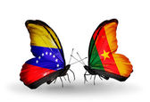 Butterflies with Venezuela and  Cameroon flags on wings — Photo