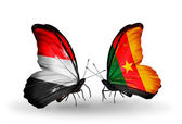 Butterflies with Yemen and  Cameroon flags on wings — Photo