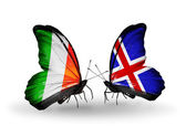 Butterflies with Ireland and Iceland flags on wings — Photo