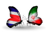 Butterflies with  Costa Rica and   Iran flags on wings — Photo