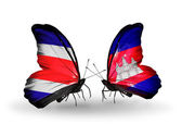 Butterflies with Costa Rica and  Cambodia flags on wings — Stock Photo