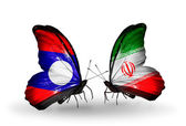 Butterflies with  Laos and   Iran flags on wings — Stock Photo