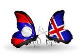 Papillons avec des drapeaux au laos et l'islande sur les ailes — Photo