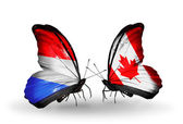 Butterflies with  Luxembourg and Canada flags on wings — Photo