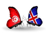 Butterflies with Tunisia and Iceland flags on wings — Stock Photo
