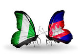 Butterflies with Nigeria and  Cambodia flags on wings — Stock Photo