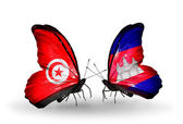 Butterflies with Tunisia and Cambodia flags on wings — Photo