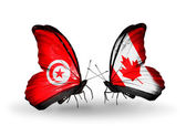Butterflies with Tunisia and Canada flags on wings — Photo