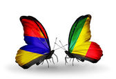 Butterflies with Armenia and  Kongo flags on wings — Stock Photo