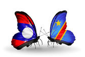 Butterflies with Laos and  Kongo flags on wings — Stock Photo