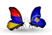 Butterflies with Armenia and  Kosovo flags on wings — Foto Stock