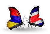 Borboletas com bandeiras arménia e costa rica sobre asas — Foto Stock