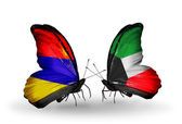 Butterflies with Armenia and  Kuwait flags on wings — Stock Photo