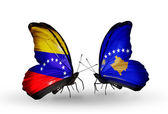 Butterflies with Venezuela and  Kosovo flags on wings — Foto Stock