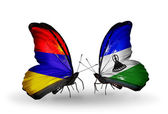Butterflies with Armenia and  Lesotho flags on wings — Foto Stock