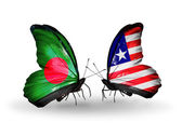 Butterflies with Bangladesh and Liberia flags on wings — Foto Stock