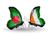 Butterflies with Bangladesh and Cote Divoire flags on wings — Stock Photo