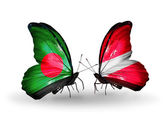Butterflies with Bangladesh and Latvia flags on wings — Foto Stock