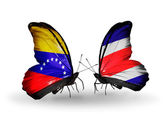 Butterflies with Venezuela and Costa Rica flags on wings — ストック写真