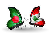 Butterflies with Bangladesh and Lebanon flags on wings — ストック写真