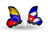Butterflies with Venezuela and Cuba flags on wings — Stock Photo