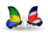 Butterflies with Gabon and Costa Rica flags on wings — Foto Stock