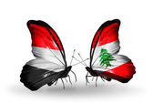 Butterflies with Yemen and  Lebanon flags on wings — ストック写真