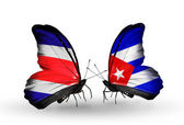 Butterflies with Costa Rica and Cuba flags on wings — 图库照片