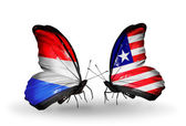 Butterflies with Luxembourg and  Liberia flags on wings — Foto Stock