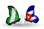 Butterflies with Nigeria and  Cuba flags on wings — Foto de Stock