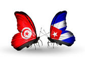 Butterflies with Tunisia and Cuba flags on wings — Foto Stock