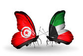 Butterflies with Tunisia and Kuwait flags on wings — Foto Stock