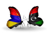 Butterflies with Armenia and  Libya flags on wings — Foto Stock