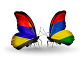 Butterflies with Armenia and  Mauritius flags on wings — Stock Photo