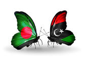 Butterflies with Bangladesh and Libya flags on wings — Stock Photo