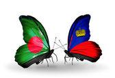 Butterflies with Bangladesh and  Liechtenstein flags on wings — Foto Stock