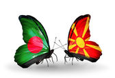 Butterflies with Bangladesh and Macedonia flags on wings — Stock Photo