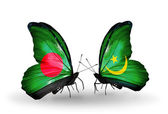 Butterflies with Bangladesh and Mauritania flags on wings — Foto Stock