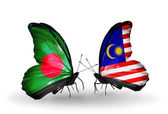 Butterflies with Bangladesh and Malaysia flags on wings — Foto Stock