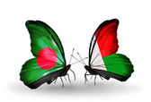 Butterflies with Bangladesh and Madagascar flags on wings — Foto Stock