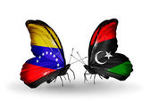 Butterflies with Venezuela and Libya flags on wings — Foto Stock