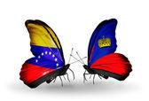 Butterflies with Venezuela and Liechtenstein flags on wings — Foto Stock
