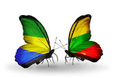Butterflies with Gabon and Lithuania flags on wings — Foto Stock