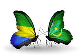 Butterflies with Gabon and Mauritania flags on wings — Foto Stock