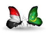 Butterflies with Yemen and  Mauritania flags on wings — Foto Stock