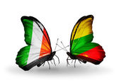 Butterflies with Ireland and  Lithuania flags on wings — Foto Stock